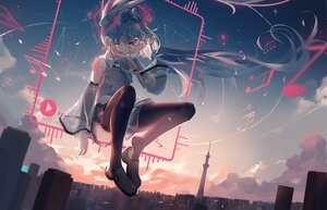Rating: Safe Score: 60 Tags: building city clouds dleung green_eyes green_hair hatsune_miku long_hair music polychromatic skirt sky sunset thighhighs twintails vocaloid wink User: BattlequeenYume