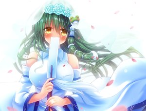 Rating: Safe Score: 26 Tags: blush breasts cropped green_hair japanese_clothes kochiya_sanae long_hair miko osashin_(osada) petals touhou yellow_eyes User: sadodere-chan