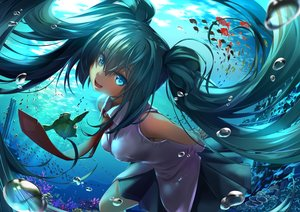 Rating: Safe Score: 42 Tags: animal aqua_eyes aqua_hair breasts bubbles hatsune_miku hellnyaa long_hair tie turtle twintails underwater vocaloid water User: RyuZU