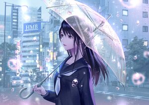 Rating: Safe Score: 44 Tags: black_eyes black_hair building city foo_midori long_hair original polychromatic rain school_uniform signed tree umbrella water User: otaku_emmy