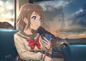 Rating: Safe Score: 74 Tags: blue_eyes bow brown_hair clouds love_live!_school_idol_project love_live!_sunshine!! phone reflection school_uniform shamakho short_hair signed sky watanabe_you User: RyuZU
