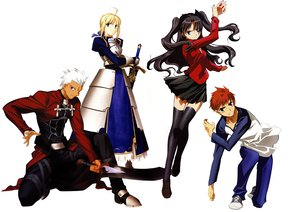 Rating: Safe Score: 6 Tags: archer emiya_shirou fate/stay_night saber tohsaka_rin white User: 秀悟