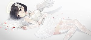 Rating: Safe Score: 41 Tags: black_hair bow corset dress elbow_gloves flowers gloves gradient halo naomasap original short_hair thighhighs white wings User: BattlequeenYume