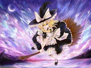 Rating: Safe Score: 38 Tags: blonde_hair blue_eyes clouds hat kazabana_kazabana kirisame_marisa moon sky touhou witch User: PAIIS