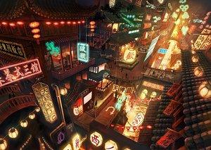 Rating: Safe Score: 37 Tags: building city night original scenic stairs torii yokosachi User: RyuZU
