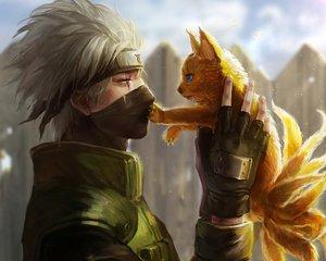 Rating: Safe Score: 205 Tags: all_male animal close cropped gloves hatake_kakashi headband male mask multiple_tails naruto oreki_genya tail waifu2x User: mattiasc02