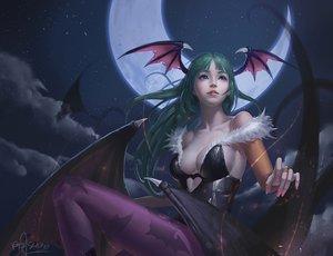 Rating: Safe Score: 200 Tags: bodysuit breasts cleavage darkstalkers demon long_hair moon morrigan_aensland night pantyhose realistic riyueseven signed stars succubus wings User: Flandre93