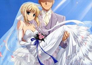 Rating: Safe Score: 45 Tags: artoria_pendragon_(all) blonde_hair blue_eyes blush elbow_gloves fate_(series) fate/stay_night flowers gloves male petals saber sky suit wedding_attire User: rargy