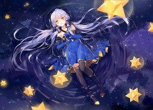 Rating: Safe Score: 154 Tags: blue dress elbow_gloves gloves long_hair orange_eyes polychromatic signed space stars thighhighs twintails vocaloid vocaloid_china white_hair xingchen yumaomi zettai_ryouiki User: mattiasc02