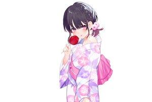 Rating: Safe Score: 47 Tags: achiki apple black_hair braids candy flat_chest flowers food fruit japanese_clothes original purple_eyes short_hair white yukata User: otaku_emmy