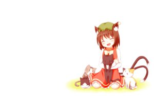 Rating: Safe Score: 92 Tags: animal animal_ears bita blush bow brown_hair cat catgirl cat_smile chen fang hat multiple_tails short_hair tail touhou white User: SciFi