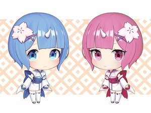 Rating: Safe Score: 34 Tags: 2girls aqua_eyes blue_hair cat_smile chibi hawah127 horns japanese_clothes pink_eyes pink_hair ram_(re:zero) rem_(re:zero) re:zero_kara_hajimeru_isekai_seikatsu short_hair thighhighs twins yukata zettai_ryouiki User: otaku_emmy
