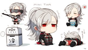 Rating: Safe Score: 92 Tags: blush boots chibi closers food goggles gray_hair gun heart ice_cream long_hair panties ponytail red_eyes signed skirt thighhighs tina_(closers) underwear upskirt weapon yukibi User: otaku_emmy