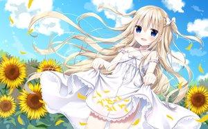 Rating: Safe Score: 50 Tags: blonde_hair blue_eyes blush bow clouds dress flowers long_hair original petals ribbons skirt_lift sky summer summer_dress sunflower tia-chan twintails uchuuneko User: luckyluna