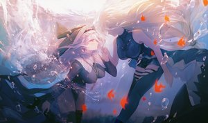 Rating: Safe Score: 75 Tags: 2girls arknights long_hair muike red_eyes shoujo_ai skadi_(arknights) specter_(arknights) underwater water white_hair User: Fepple