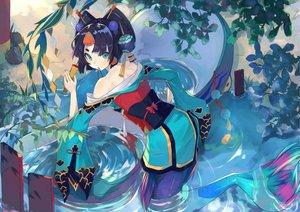Rating: Safe Score: 97 Tags: black_hair fan green_eyes headdress japanese_clothes leaves mermaid onmyouji shouzu_(onmyouji) tagme_(artist) water yukata User: otaku_emmy