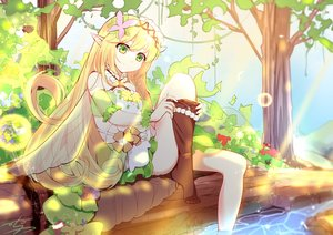 Rating: Safe Score: 31 Tags: bell blonde_hair dress fairy flowers green_eyes headdress long_hair menghuan_tian original pointed_ears signed stockings tree undressing water wings User: otaku_emmy