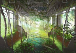 Rating: Safe Score: 82 Tags: green mocha_(cotton) nobody original ruins scenic signed train tree User: FormX