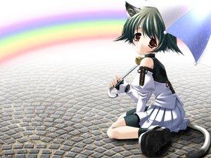 Rating: Safe Score: 14 Tags: animal_ears bell black_hair brown_eyes catgirl collar keg rainbow short_hair skirt tail umbrella User: Oyashiro-sama