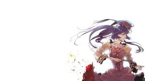 Rating: Safe Score: 45 Tags: 35_(pixiv) animal blood blue_eyes blue_hair bow butterfly dress flowers furudo_erika gun long_hair twintails umineko_no_naku_koro_ni weapon User: noitis