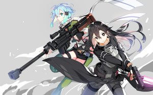 Rating: Safe Score: 30 Tags: aqua_eyes aqua_hair black_eyes black_hair gray gun gun_gale_online kirigaya_kazuto long_hair male mona0101 shinon_(sao) short_hair shorts sword_art_online thighhighs weapon User: RyuZU