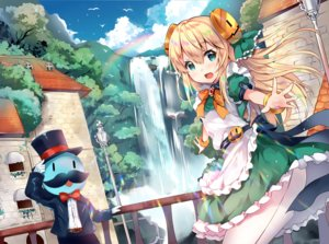 Rating: Safe Score: 34 Tags: apron blonde_hair blush building cat_smile clouds dress gloves green_eyes hat long_hair male qooapp scenic sky tree usagihime water waterfall wristwear User: otaku_emmy