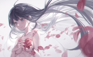 Rating: Safe Score: 28 Tags: black_eyes black_hair breast_hold breasts flowers long_hair marutani original petals polychromatic rose topless User: FormX