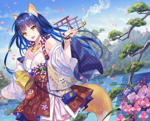 Rating: Safe Score: 78 Tags: animal_ears blue_hair cherry_blossoms clouds fang flowers foxgirl japanese_clothes original sky smoking tail torii water yamyom yellow_eyes User: BattlequeenYume