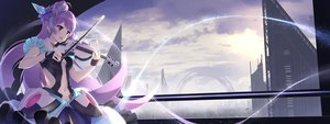 Rating: Safe Score: 103 Tags: alc_(ex2_lv) building city clouds dualscreen instrument long_hair macross macross_delta mikumo_guynemer purple_eyes purple_hair sunset violin User: FormX