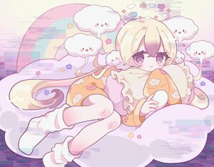 Rating: Safe Score: 19 Tags: aeruusa blonde_hair brown_eyes clouds loli long_hair mahou_shoujo_ikusei_keikaku nemurin pajamas socks stars User: otaku_emmy