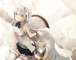 Rating: Safe Score: 66 Tags: angel breasts cleavage feathers gray_eyes gray_hair navel original see_through skirt thighhighs twintails wings wristwear yukisame User: Dreista