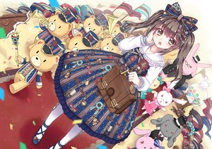 Rating: Safe Score: 111 Tags: bow brown_hair bunny dress hat instrument lolita_fashion long_hair north_abyssor original ribbons teddy_bear yellow_eyes User: Flandre93