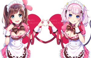 Rating: Safe Score: 32 Tags: 2girls a.i._channel bow breasts brown_hair cleavage dress green_eyes kaguya_luna kaguya_luna_(character) kizuna_a.i. maid omelet_tomato pink_hair ribbons twintails valentine User: BattlequeenYume