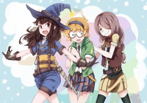 Rating: Safe Score: 52 Tags: aliasing aqua_eyes blonde_hair brown_hair glasses gloves gosledging hat headband kagari_atsuko little_witch_academia long_hair lotte_yanson short_hair shorts skirt sucy_manbavaran thighhighs tie witch_hat User: RyuZU