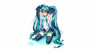Rating: Safe Score: 36 Tags: blue_hair green_eyes hatsune_miku tie twintails vocaloid white User: humanpinka