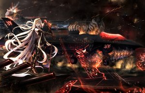Rating: Safe Score: 231 Tags: aircraft aircraft_carrier_oni anthropomorphism armor boyogo combat_vehicle gray_hair kantai_collection long_hair red_eyes sword weapon User: FormX