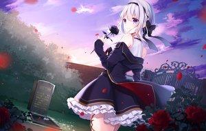 Rating: Safe Score: 68 Tags: aliasing braids clouds flowers gray_hair headband kisaragi_yuri original purple_eyes rose sky User: BattlequeenYume