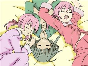 Rating: Safe Score: 9 Tags: mahou_sensei_negima nagase_kaede narutaki_fumika narutaki_fuuka pajamas pink_hair sleeping twins vector User: Oyashiro-sama