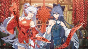 Rating: Safe Score: 50 Tags: 2girls aqua_eyes chinese_clothes chinese_dress dress fireworks fu_hua gray_hair honkai_impact kiana_kaslana long_hair tagme_(artist) twintails User: Nepcoheart
