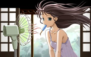 Rating: Safe Score: 128 Tags: dreamsoft fan food green_eyes ice_cream popsicle tsurugi_hagane User: 秀悟