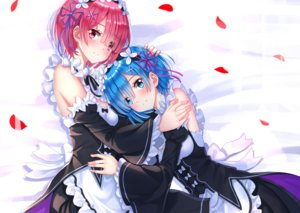 Rating: Safe Score: 109 Tags: 2girls aqua_eyes aqua_hair blush cropped dress headdress maid petals pink_eyes pink_hair ram_(re:zero) rem_(re:zero) re:zero_kara_hajimeru_isekai_seikatsu short_hair swordsouls twins User: luckyluna