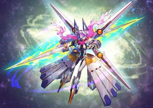 Rating: Safe Score: 36 Tags: artoria_pendragon_(all) fate/grand_order fate_(series) mecha mysterious_heroine_xx_(foreigner) nkmr8 scarf spear weapon wings User: otaku_emmy