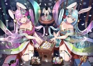 Rating: Safe Score: 29 Tags: 2girls animal animal_ears aqua_eyes aqua_hair bell blush breasts bunny_ears bunnygirl cleavage fan flowers food japanese_clothes kimono long_hair original petals purple_eyes purple_hair rabbit ribbons thighhighs wander00317_(akihirotanisi) water User: BattlequeenYume