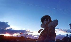 Rating: Safe Score: 44 Tags: mifuru original scarf scenic sky User: FormX