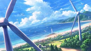 Rating: Safe Score: 73 Tags: beach building clouds landscape lighthouse original scenic shiki_makoto sky water windmill User: RyuZU