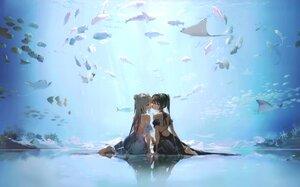 Rating: Safe Score: 104 Tags: 2girls animal anmi barefoot blue_eyes brown_hair cropped dress fish gray_hair long_hair original ponytail reflection scan shoujo_ai underwater water User: BattlequeenYume