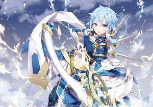 Rating: Safe Score: 75 Tags: blue_hair bow_(weapon) clouds gabiran gloves green_eyes shinon_(sao) short_hair sky sword_art_online weapon User: BattlequeenYume