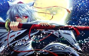 Rating: Safe Score: 119 Tags: animal_ears gray_hair hat inubashiri_momiji katana moon nekominase night petals red_eyes ribbons short_hair sky sword tail touhou weapon wolfgirl User: C4R10Z123GT
