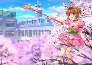 Rating: Safe Score: 46 Tags: bow brown_hair card_captor_sakura cherry_blossoms choker dress flowers green_eyes jpeg_artifacts kinomoto_sakura loli moonknives petals ribbons short_hair wand wings wristwear User: gnarf1975
