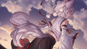 Rating: Safe Score: 96 Tags: animal_ears clouds inubashiri_momiji iwbitu japanese_clothes short_hair sky sunset tail touhou watermark white_hair wolfgirl User: Fepple
